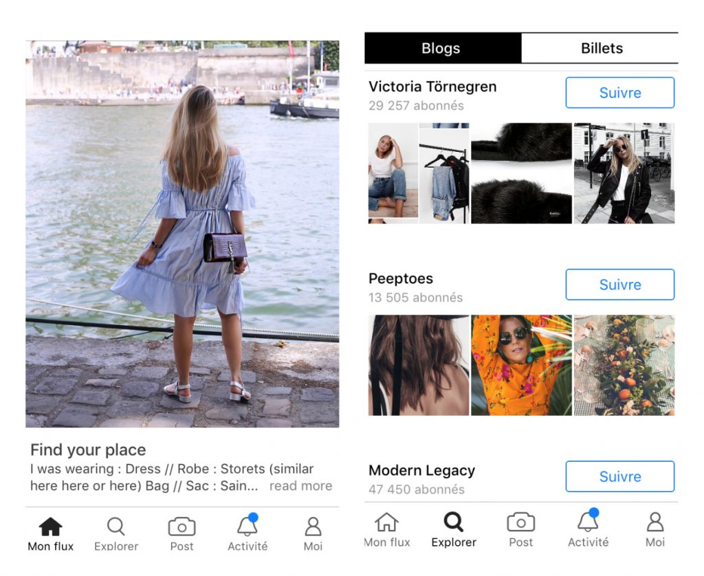 Capture d'écran de l'application Bloglovin