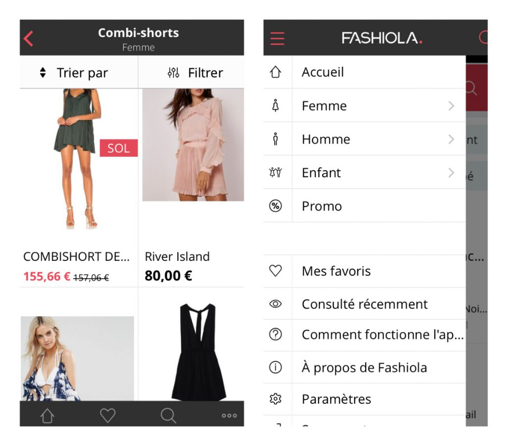 Capture d'écran de l'application Fashiola
