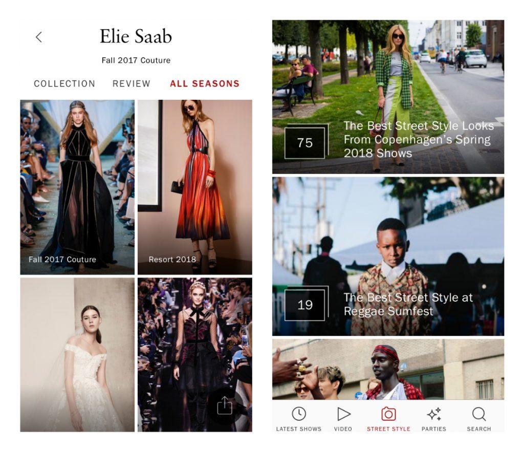Capture d'écran de l'application Vogue Runway